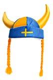 瑞典帽子,隔绝在白色 免版税库存照片