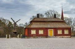 瑞典房子在Scansen博物馆 免版税库存照片