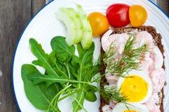 瑞典样式黑麦面包单片三明治 库存图片