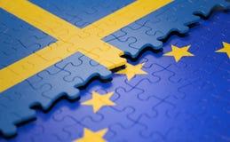 瑞典欧盟难题旗子 皇族释放例证