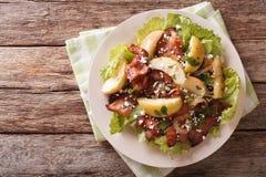 瑞典沙拉用油煎的烟肉、绿色苹果和山羊乳干酪 贺尔 库存照片