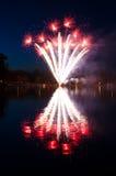 从瑞典湖的烟花 免版税库存图片