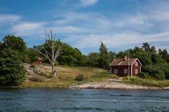 瑞典的传统房子在国家 库存图片