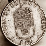 瑞典硬币,一克罗钠 免版税图库摄影