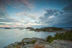 从瑞典边看见的Oslofjord的起点 库存图片