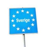 瑞典,欧洲的边界标志 图库摄影