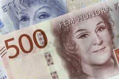 瑞典货币关闭 库存照片
