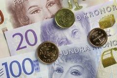 瑞典货币关闭 库存图片