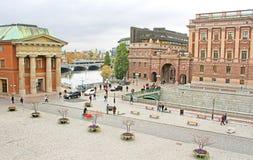 瑞典Riksdag的看法从斯德哥尔摩宫殿,瑞典的 免版税图库摄影