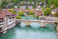 瑞士、城市伯尔尼和河Aare 免版税库存照片