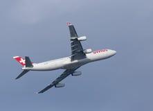 瑞士人空中客车A340飞机 库存图片