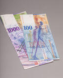 瑞士人1000和100法郎笔记 免版税库存图片