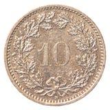 10瑞士人Rappen硬币 免版税库存照片