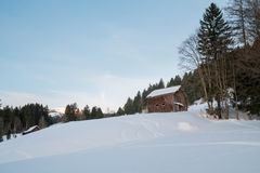瑞士冬天-小屋在森林里 库存照片
