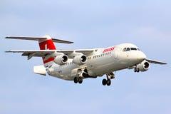 瑞士国际航空波氏系统Avro 146-RJ100 库存照片