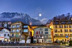 瑞士城镇冬天 库存图片