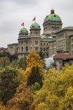 瑞士大厦联邦宫殿在aut的一阴暗天 免版税库存图片