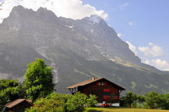 瑞士山中的牧人小屋在berns阿尔卑斯 图库摄影