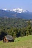 瑞士山中的牧人小屋山tatras 免版税图库摄影