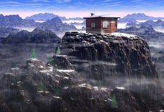 瑞士山中的牧人小屋排除 库存照片