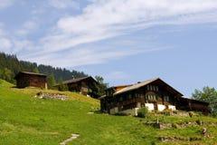 瑞士山中的牧人小屋瑞士 免版税库存照片