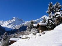 瑞士山中的牧人小屋雪谷白色 免版税图库摄影