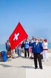 瑞士旗子投掷者 免版税库存照片
