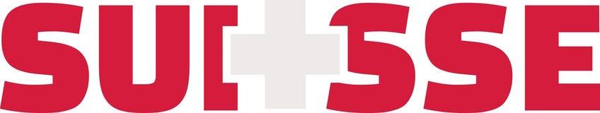 瑞士旗子词- Suisse 库存图片