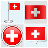 瑞士旗子-套贴纸,按钮,标记a 免版税库存图片