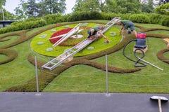 瑞士日内瓦开花的时钟被重新设计了 免版税图库摄影