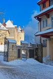 瑞士村庄格律耶尔在冬天 免版税库存照片