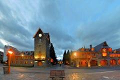 瑞士样式大广场在巴里洛切,巴塔哥尼亚 免版税库存照片