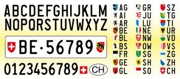 瑞士汽车板材、信件、数字和标志 向量例证