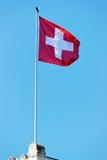 瑞士沙文主义情绪由风在Ouchy村庄在洛桑 免版税图库摄影