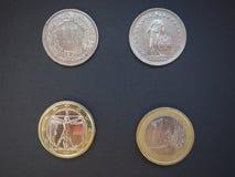 瑞士法郎和欧元 免版税库存照片