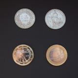 瑞士法郎和欧元 免版税库存图片