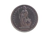 瑞士法郎(CHF)硬币 免版税库存照片