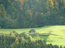 瑞士瑞士山中的牧人小屋 免版税库存图片