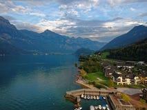 瑞士的瓦伦湖 库存图片