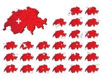瑞士省地图 库存图片