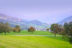 瑞士秋天的小山 库存照片