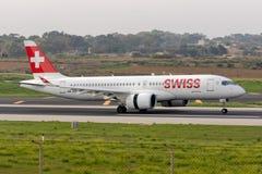瑞士空中客车A220,formely CS300 库存图片