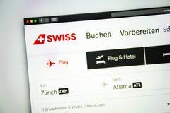 瑞士空气网站主页 关闭瑞航商标 免版税图库摄影