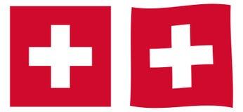 瑞士联邦瑞士旗子 简单和有一点wavi 皇族释放例证