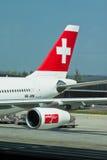 瑞士航空器的航空公司 免版税库存照片