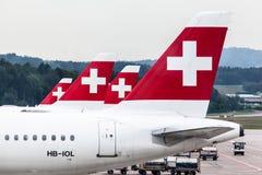 瑞士航空的飞机 免版税库存图片