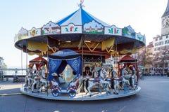瑞士苏黎士- 2017年10月16日:一个旋转木马与ho 免版税库存图片