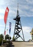 瑞士苏黎士- 2017年6月03日:瑞士和Ue旗子  免版税库存照片