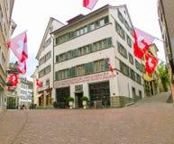 瑞士苏黎士- 2017年5月02日:瑞士苏黎士的市中心 库存图片