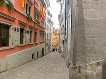 瑞士苏黎士- 2017年5月02日:瑞士苏黎士的市中心 库存照片